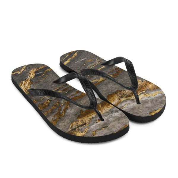 Grey Gold Marble Flip Flops - Noble Days