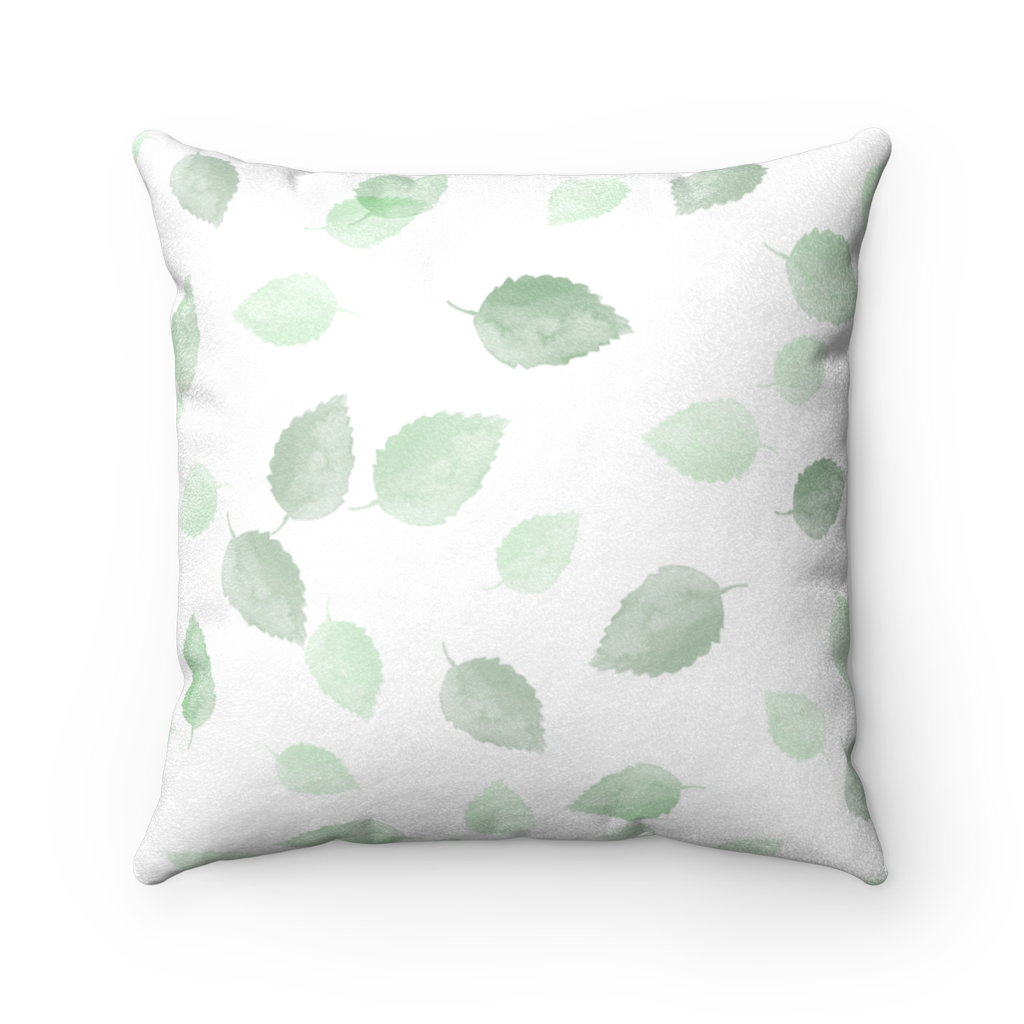 Green Leaves Faux Suede Square Pillow Case Noble Days